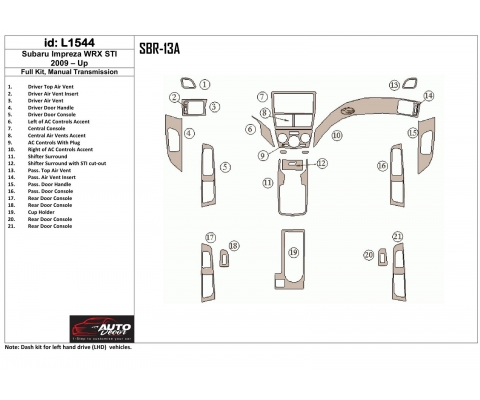 SUBARU Subaru Impreza 2009-UP Full Set, Manual Gear Box Interior BD Dash Trim Kit €59.99