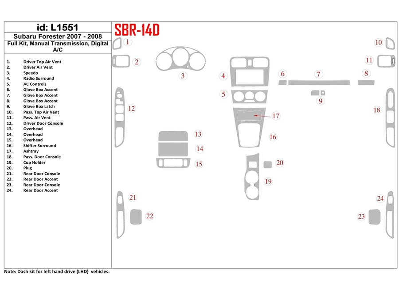 SUBARU Subaru Forester 2007-2008 Full Set, Manual Gear Box, Automatic AC Interior BD Dash Trim Kit €59.99