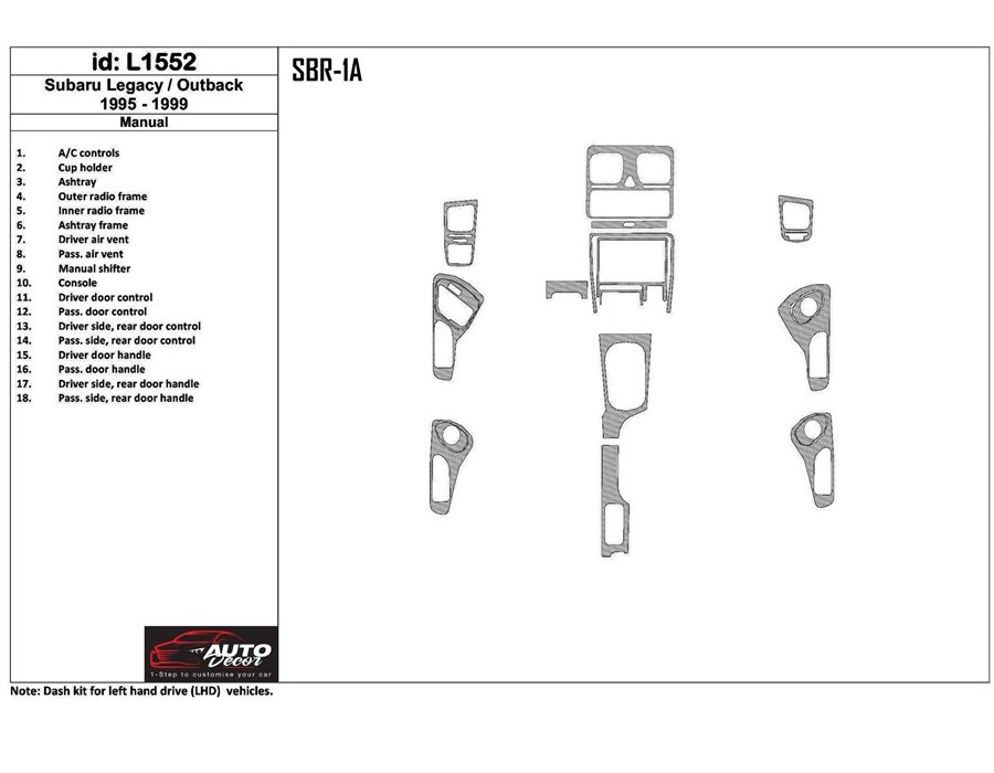 SUBARU Subaru Legacy Outback 1995-1999 Manual Gearbox, 18 Parts set Interior BD Dash Trim Kit €51.99